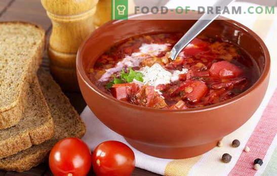 Hoe kook je soep? Leer iedereen! Kook borsch met bieten, zuurkool en verse kool, bonen, zuring, en je kunt met sprot