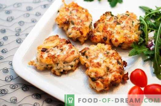 Gehakte kippenpasteitjes met kaas - de perfecte oplossing. Een selectie van recepten gehakte gehaktballen met kaas en kruiden, groenten, ontbijtgranen
