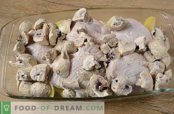 Kip gebakken met aardappelen: een stapsgewijs foto-recept. We bakken een kip met aardappelen, peper en champignons - een minimum aan inspanning, een heerlijk resultaat!