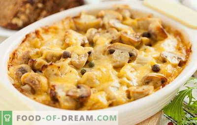 Aardappel met kip en champignons in de oven - een traditie! Recepten voor aardappelen met kip en champignons: in folie, huls en potten