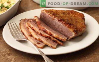 Vlees in mosterd - geurig, huisgemaakt, pittig. Gebakken en geroosterd vlees in mosterd: met wijn, honing, mayonaise