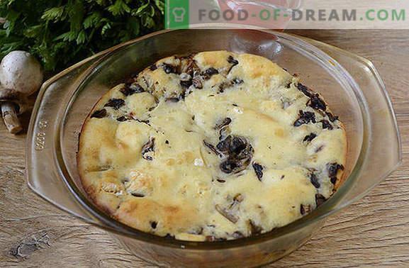 Pie kwelletjes met champignons op kefir - heerlijke snacks voor een uur! Stapsgewijs fotorecept van gekruide roomtaart met champignons