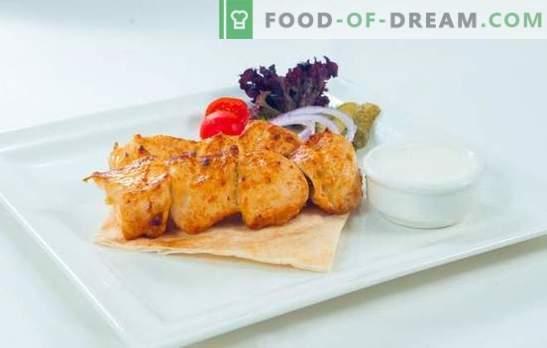 Goede voeding - kalkoenspiesjes! Op kolen of grills, kalkoen kebab in de meest heerlijke wijn- of citroenmarinade