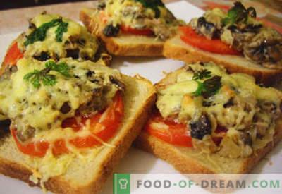 Warme broodjes met worst, kaas, eieren, tomaten - de beste recepten. Koken van warme broodjes in de oven, in de pan en in de magnetron.