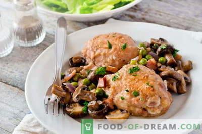 Kip met champignons - de beste recepten. Hoe goed en smakelijk kip met champignons koken.
