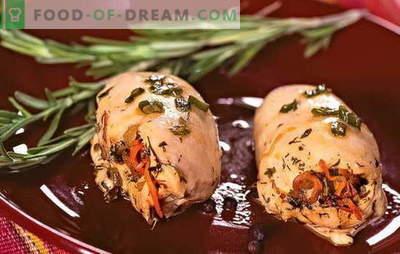 Gevulde kippenfilet - elegant en smakelijk! Recepten gevulde kipfilet met kaas, ham, pruimen