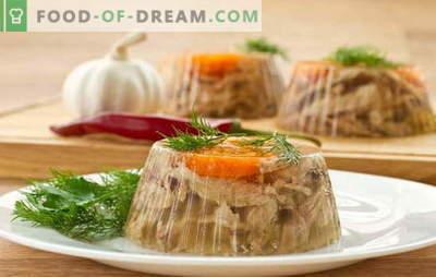 Zal het heerlijke gelei maken met gelatine? Unieke en eenvoudige recepten van aspic met gelatine: rundvlees, groente, kip