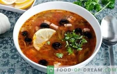 Solyanka-klassieker met worst - dit is een soep! Recepten voor pittige, rijke, aromatische klassieke zoutazijn met worst