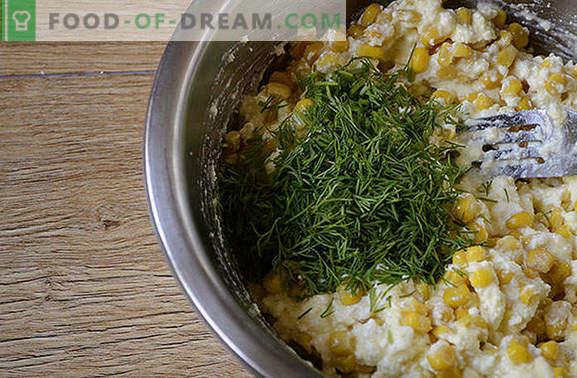 Braadpan met maïs en kwark: smakelijk, gezond en mooi! Stap voor stap auteursfoto recept braadpannen van cottage cheese en ingeblikte mais