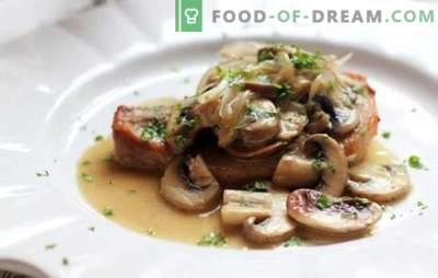 Karbonades met champignons - heerlijke vlees, onaardse smaak! De beste recepten van heerlijke varkenskoteletten met champignons