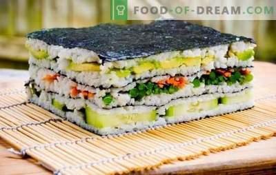 Sushi cake: licht en stijlvol! Koken sushi cake met rode vis, garnalen, krabstokken, kaviaar