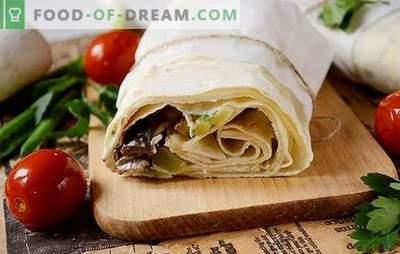 Een pita shoarma met kipfilet met champignons - zelfgemaakte fastfood. Stap voor stap auteur's foto-recept heerlijke zelfgemaakte shoarma