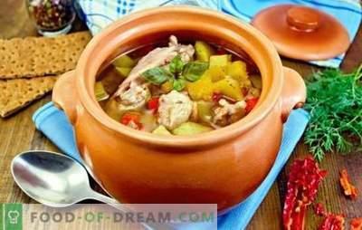 Gebraden in potten met kip - geef afwisseling! Recepten voor gebraden vlees met kip en champignons, groenten, bonen