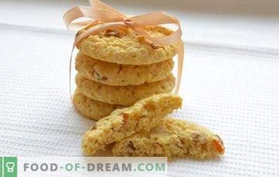 Zachte havermoutkoekjes - recepten en trucs. Hoe zachte havermoutkoekjes bakken met honing, noten, sinaasappel, appels, kwark