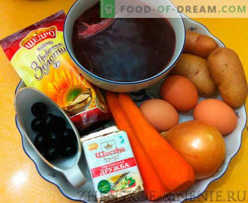 Salade met champignons - een recept met foto's en stapsgewijze beschrijving