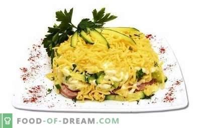 Salade met ham, komkommers en kaas is licht en voedzaam. Varianten van ham, komkommer en kaassalade