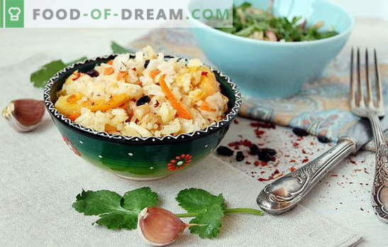 Pilaf in de oven: de belangrijkste nuances van koken. Pilaf-recepten in de oven: vlees, groenten, zoet