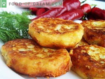 Aardappelkoekjes zijn de beste recepten. Aardappelpasteitjes koken.