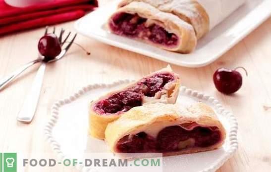 Cherry bladerdeeg - het zal zeker niet blijven hangen! Recepten van verschillende bladerdeegcakes met kersen van huis en gekocht deeg