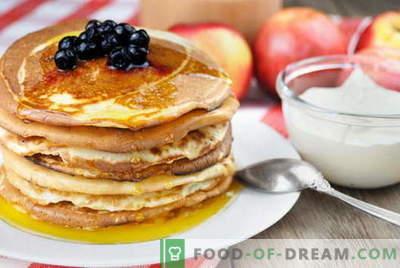 Fritters op melk - de beste recepten. Hoe goed en smakelijk pannenkoeken in melk koken.