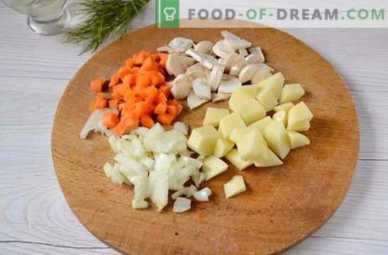 Champignonsoep met kip en gesmolten kaas: een mooie en gezonde voorgerecht. Fotorecept voor soep met kip en gesmolten kaas: stap voor stap
