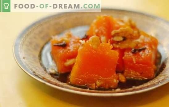 Gestoomde pompoen: op het fornuis, in de oven, multi-fornuis, dubbele ketel. Gestoomde pompoen met suiker, honing, knoflook, gedroogde abrikozen en appels