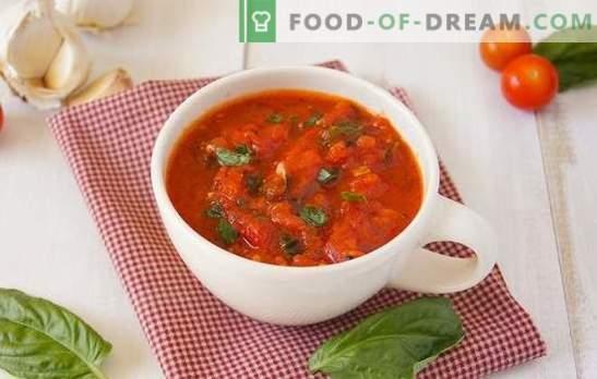 Adjika van tomaten - zo anders! Eenvoudig, pittig, met knoflook of mierikswortel, rauw of gekookt: adjika-tomaten voor elke smaak