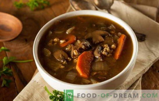 Magere soep met champignons - mag het altijd heerlijk zijn! Verschillende recepten voor magere soepen met champignons en granen, noedels, groenten