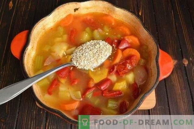 Gemüsehaferkleiesuppe in Hühnerbrühe