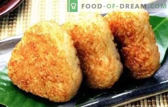 Rijst eetstokjes - ongebruikelijk en zuinig! Recepten van zoete en zoute rijst kruimels met vlees, rozijnen, paddenstoelen, gekonfijt fruit, kwark