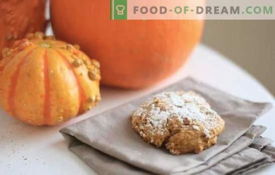 Pumpkin biscuits zijn mijn favoriet! Recepten zonnige pompoenkoekjes met rozijnen, vlokken, noten, kwark