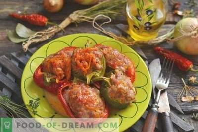 Gevulde paprika's met rijstgehakt