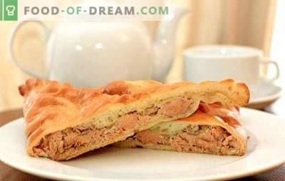 Taart met roze zalm - voedzaam, geurig, erg smakelijk. Recepten voor zelfgemaakte taart met roze zalm: gist, bladerdeeg, vul