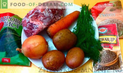 Rundvleessoep - een recept met foto's en een stapsgewijze beschrijving
