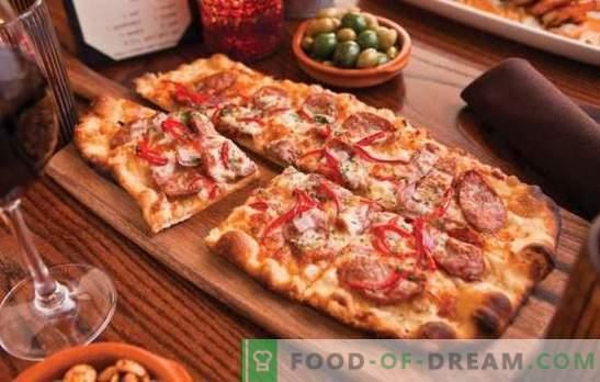 Zelfgemaakte pizza: recepten met worst, tomaten, champignons, kip, komkommers. Een selectie van recepten voor zelfgemaakte pizza