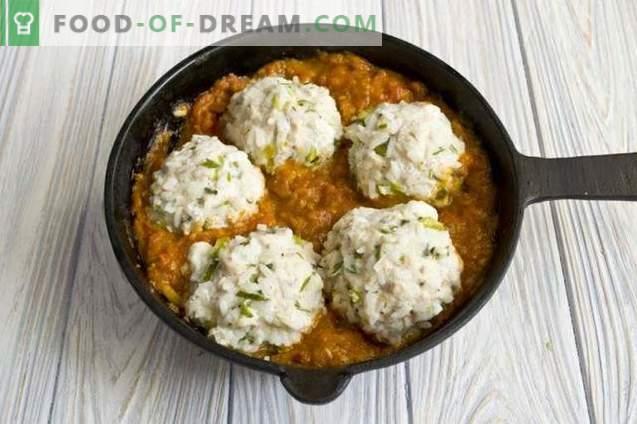 Gehaktballen met rijst in tomatensaus