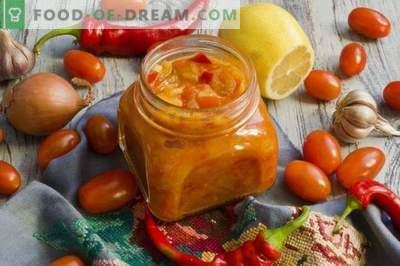 Zure zoete kers-citroen-chili saus