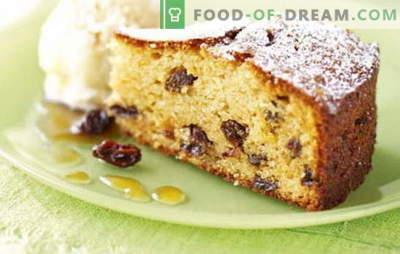 Taart met rozijnen - er zit beslist een rozijn in! Recepten voor zelfgemaakt gebak met rozijnen en appels, noten, gedroogde abrikozen, rijst, kwark