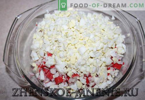 Krabsalade - een recept met foto's en stapsgewijze beschrijving