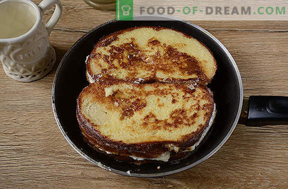 Croutons met kwark - een creatieve benadering van het ontbijt! Een snelle versie van een cottage cheese donut of cheesecake: gefrituurde croutons met cottage cheese
