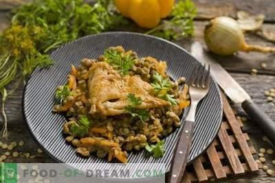 Linzen met kip en groenten