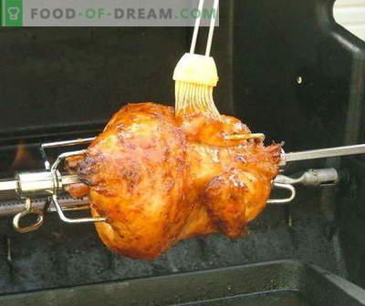 Spit chicken - de beste recepten. Hoe goed en smakelijk kip aan het spit koken.
