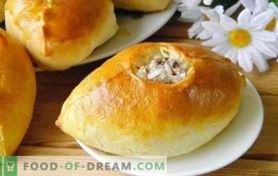 Pasteitjes met gehakt en rijst - voedzaam, smakelijk, huiselijk! Gebakken, gebakken en bladerdeeg bereiden met gehakt en rijst