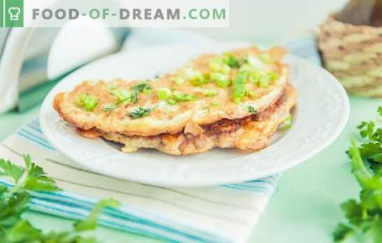 Kipbries - een restaurantgerecht in het hoofdmenu. Kenmerken van de bereiding van vullingen en omeletten voor kipbrilli