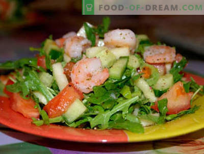 Ensaladas con rúcula y camarones - las cinco mejores recetas. Cómo preparar las ensaladas con rúcula y camarones de manera adecuada y deliciosa.
