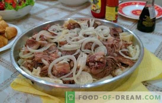 Zelfgemaakte beshbarmak - een gerecht van Turkse volkeren. Beshbarmak thuis met lam, patrijs, kalkoen, varken