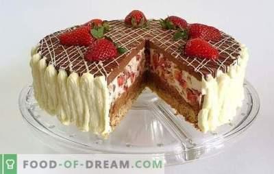Chocoladetaart met aardbeien - een droom van een zoetekauw! Recepten geweldige chocoladetaarten met aardbeien voor zelfgemaakte thee