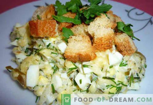 Salade met gepekelde komkommer - bewezen recepten. Hoe goed en smakelijk een salade bereiden met augurken.