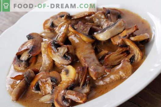 Vlees met champignons - de beste recepten. Hoe goed en smakelijk vlees bereiden met champignons.