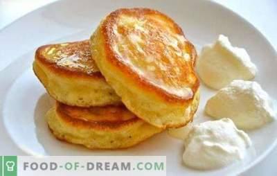 Geen geheimen - eenvoudige donzige pannenkoeken op yoghurt. Recepten voor weelderige pannenkoeken op yoghurt met kwark, lokaas, appels